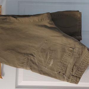 KUHL Vintage Patina Wash Pants.  Light Olive. With Contrast Stitching Size 36x32